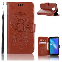 Intricate Embossing Owl Campanula Leather Wallet Case for Asus Zenfone 3 Max ZC553KL - Brown