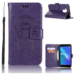 Intricate Embossing Owl Campanula Leather Wallet Case for Asus Zenfone 3 Max ZC553KL - Purple