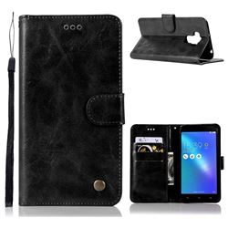Luxury Retro Leather Wallet Case for Asus Zenfone 3 Max ZC553KL - Black