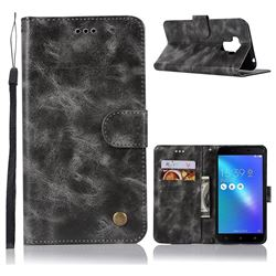 Luxury Retro Leather Wallet Case for Asus Zenfone 3 Max ZC553KL - Gray