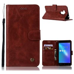 Luxury Retro Leather Wallet Case for Asus Zenfone 3 Max ZC553KL - Wine Red