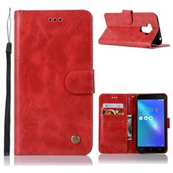 Luxury Retro Leather Wallet Case for Asus Zenfone 3 Max ZC553KL - Red