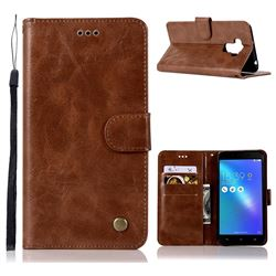 Luxury Retro Leather Wallet Case for Asus Zenfone 3 Max ZC553KL - Brown