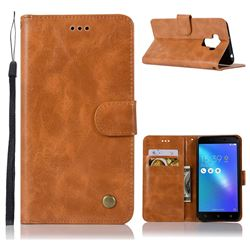 Luxury Retro Leather Wallet Case for Asus Zenfone 3 Max ZC553KL - Golden