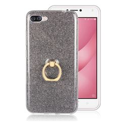 Luxury Soft TPU Glitter Back Ring Cover with 360 Rotate Finger Holder Buckle for Asus Zenfone 4 Max ZC554KL Pro Plus - Black