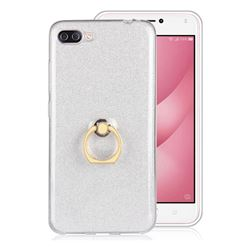 Luxury Soft TPU Glitter Back Ring Cover with 360 Rotate Finger Holder Buckle for Asus Zenfone 4 Max ZC554KL Pro Plus - White