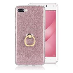 Luxury Soft TPU Glitter Back Ring Cover with 360 Rotate Finger Holder Buckle for Asus Zenfone 4 Max ZC554KL Pro Plus - Pink
