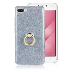 Luxury Soft TPU Glitter Back Ring Cover with 360 Rotate Finger Holder Buckle for Asus Zenfone 4 Max ZC554KL Pro Plus - Blue