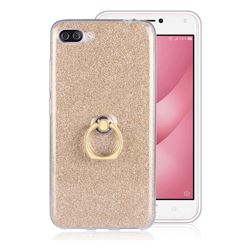 Luxury Soft TPU Glitter Back Ring Cover with 360 Rotate Finger Holder Buckle for Asus Zenfone 4 Max ZC554KL Pro Plus - Golden
