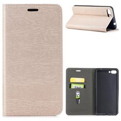 Tree Bark Pattern Automatic suction Leather Wallet Case for Asus Zenfone 4 Max ZC554KL Pro Plus - Champagne Gold