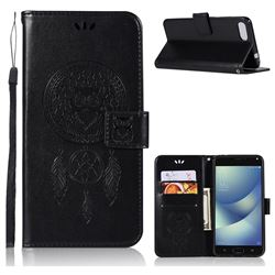 Intricate Embossing Owl Campanula Leather Wallet Case for Asus Zenfone 4 Max ZC554KL Pro Plus - Black