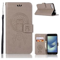 Intricate Embossing Owl Campanula Leather Wallet Case for Asus Zenfone 4 Max ZC554KL Pro Plus - Grey