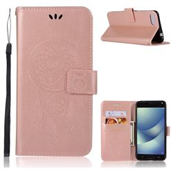Intricate Embossing Owl Campanula Leather Wallet Case for Asus Zenfone 4 Max ZC554KL Pro Plus - Rose Gold