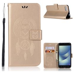 Intricate Embossing Owl Campanula Leather Wallet Case for Asus Zenfone 4 Max ZC554KL Pro Plus - Champagne