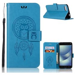 Intricate Embossing Owl Campanula Leather Wallet Case for Asus Zenfone 4 Max ZC554KL Pro Plus - Blue
