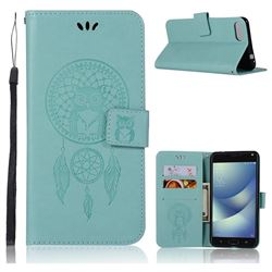 Intricate Embossing Owl Campanula Leather Wallet Case for Asus Zenfone 4 Max ZC554KL Pro Plus - Green