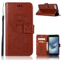 Intricate Embossing Owl Campanula Leather Wallet Case for Asus Zenfone 4 Max ZC554KL Pro Plus - Brown