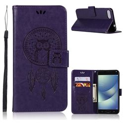 Intricate Embossing Owl Campanula Leather Wallet Case for Asus Zenfone 4 Max ZC554KL Pro Plus - Purple