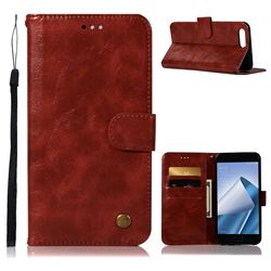 Luxury Retro Leather Wallet Case for Asus Zenfone 4 Max ZC554KL Pro Plus - Wine Red