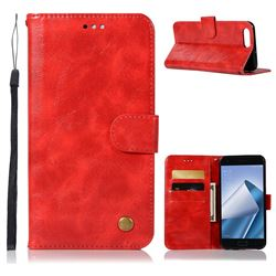 Luxury Retro Leather Wallet Case for Asus Zenfone 4 Max ZC554KL Pro Plus - Red