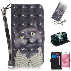 Cat Embrace 3D Painted Leather Wallet Phone Case for Asus Zenfone 4 Max ZC554KL Pro Plus