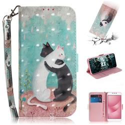 Black and White Cat 3D Painted Leather Wallet Phone Case for Asus Zenfone 4 Max ZC554KL Pro Plus