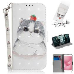 Cute Tomato Cat 3D Painted Leather Wallet Phone Case for Asus Zenfone 4 Max ZC554KL Pro Plus