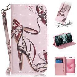 Butterfly High Heels 3D Painted Leather Wallet Phone Case for Asus Zenfone 4 Max ZC554KL Pro Plus