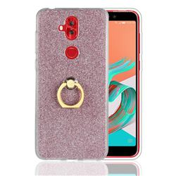 Luxury Soft TPU Glitter Back Ring Cover with 360 Rotate Finger Holder Buckle for Asus Zenfone 5 Lite ZC600KL - Pink
