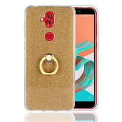 Luxury Soft TPU Glitter Back Ring Cover with 360 Rotate Finger Holder Buckle for Asus Zenfone 5 Lite ZC600KL - Golden