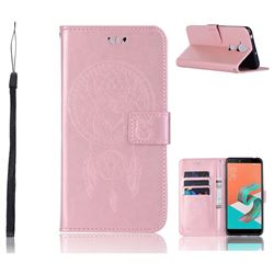 Intricate Embossing Owl Campanula Leather Wallet Case for Asus Zenfone 5 Lite ZC600KL - Rose Gold