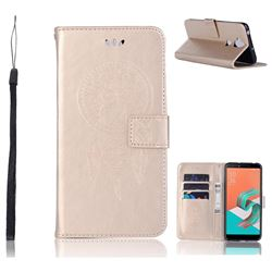 Intricate Embossing Owl Campanula Leather Wallet Case for Asus Zenfone 5 Lite ZC600KL - Champagne