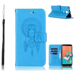 Intricate Embossing Owl Campanula Leather Wallet Case for Asus Zenfone 5 Lite ZC600KL - Blue