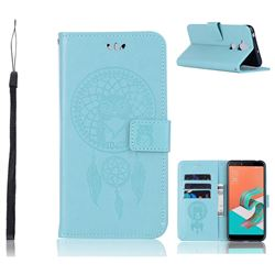 Intricate Embossing Owl Campanula Leather Wallet Case for Asus Zenfone 5 Lite ZC600KL - Green