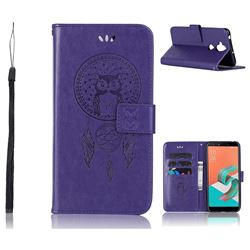 Intricate Embossing Owl Campanula Leather Wallet Case for Asus Zenfone 5 Lite ZC600KL - Purple