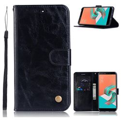 Luxury Retro Leather Wallet Case for Asus Zenfone 5 Lite ZC600KL - Black