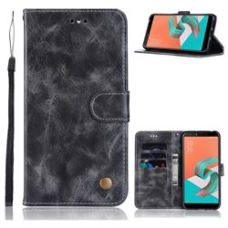 Luxury Retro Leather Wallet Case for Asus Zenfone 5 Lite ZC600KL - Gray