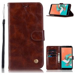 Luxury Retro Leather Wallet Case for Asus Zenfone 5 Lite ZC600KL - Brown