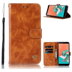 Luxury Retro Leather Wallet Case for Asus Zenfone 5 Lite ZC600KL - Golden