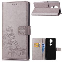 Embossing Imprint Four-Leaf Clover Leather Wallet Case for Asus Zenfone 5 Lite ZC600KL - Grey