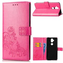 Embossing Imprint Four-Leaf Clover Leather Wallet Case for Asus Zenfone 5 Lite ZC600KL - Rose
