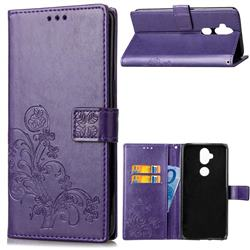 Embossing Imprint Four-Leaf Clover Leather Wallet Case for Asus Zenfone 5 Lite ZC600KL - Purple