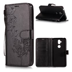 Intricate Embossing Dandelion Butterfly Leather Wallet Case for Asus Zenfone 5 Lite ZC600KL - Black