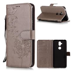 Intricate Embossing Dandelion Butterfly Leather Wallet Case for Asus Zenfone 5 Lite ZC600KL - Gray