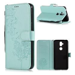Intricate Embossing Dandelion Butterfly Leather Wallet Case for Asus Zenfone 5 Lite ZC600KL - Green
