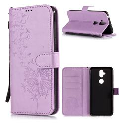 Intricate Embossing Dandelion Butterfly Leather Wallet Case for Asus Zenfone 5 Lite ZC600KL - Purple