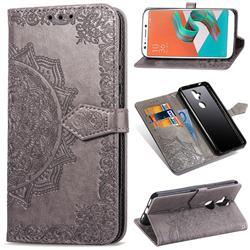 Embossing Imprint Mandala Flower Leather Wallet Case for Asus Zenfone 5 Lite ZC600KL - Gray