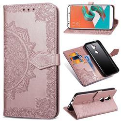 Embossing Imprint Mandala Flower Leather Wallet Case for Asus Zenfone 5 Lite ZC600KL - Rose Gold