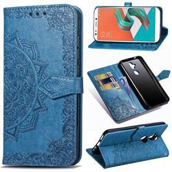 Embossing Imprint Mandala Flower Leather Wallet Case for Asus Zenfone 5 Lite ZC600KL - Blue