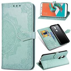 Embossing Imprint Mandala Flower Leather Wallet Case for Asus Zenfone 5 Lite ZC600KL - Green